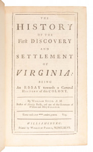 History of Virginia – One of the earliest imprints of domestic history printed in America