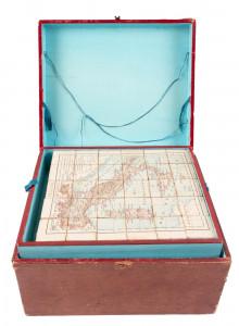 Jigsaw block puzzles of eighteen maps circa 1900