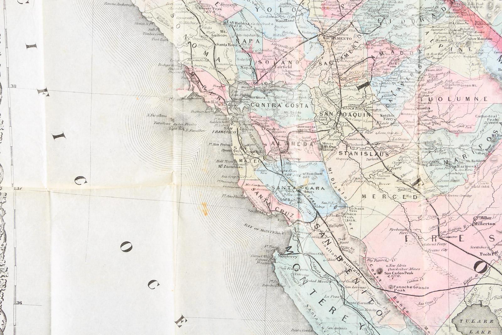 Bancroft 39 s map of california nevada utah and arizona for California chiude l utah