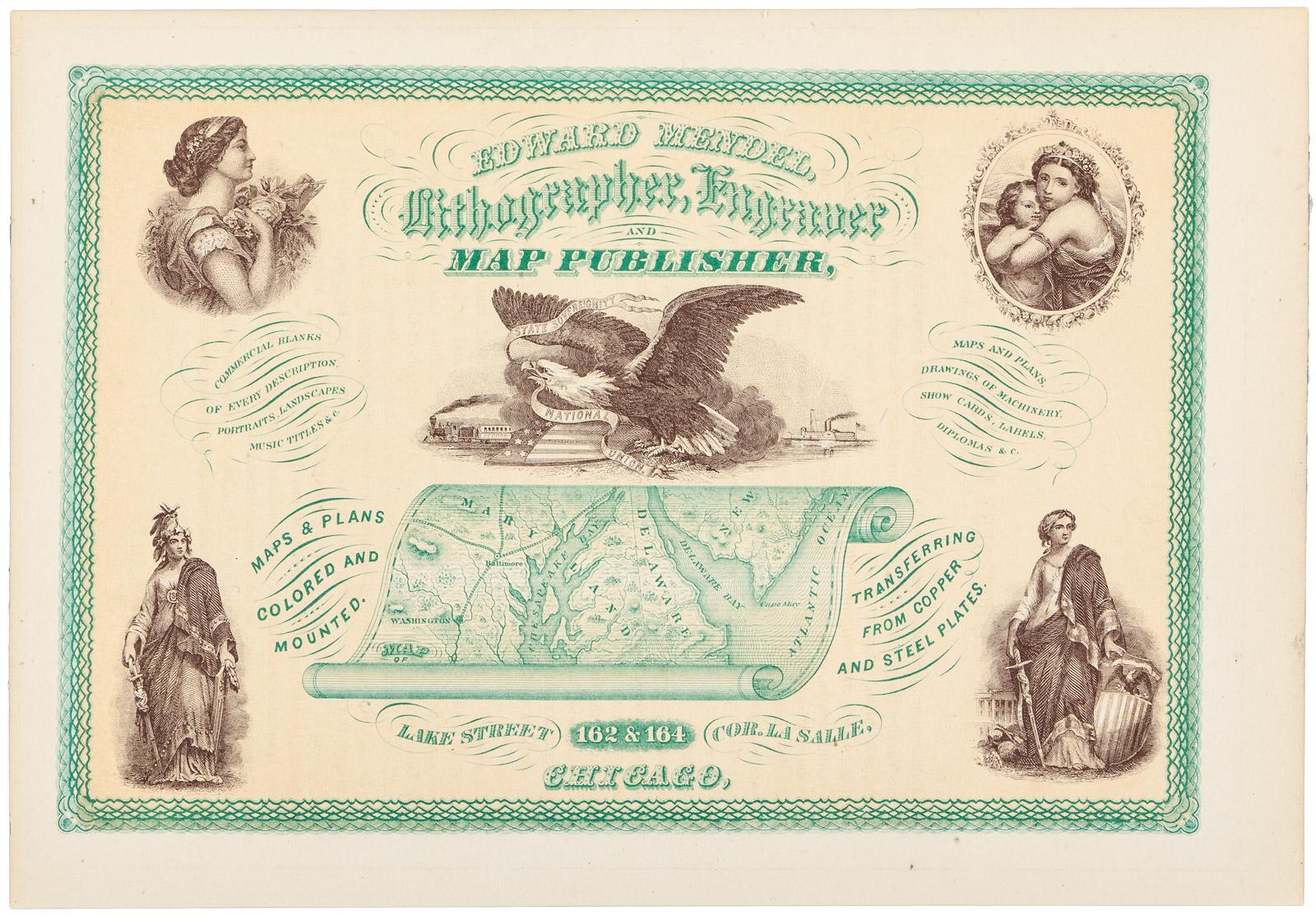Edward Mendel Lithographer Engraver And Map Publisher Lake - Chicago map ring