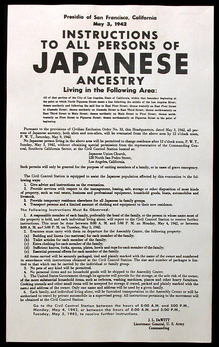 Printed poster instructing persons of japanese ancestry in.