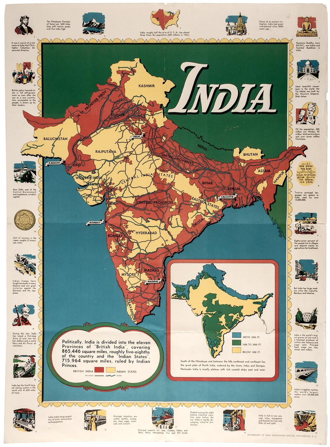 Map of british india world war ii poster 1944 price estimate 100 sale 510 rare americana travel exploration asian american history maps views 510 07112013 1100 am pdt closed gumiabroncs Images