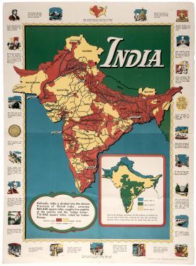 Map of British India World War II Poster 1944