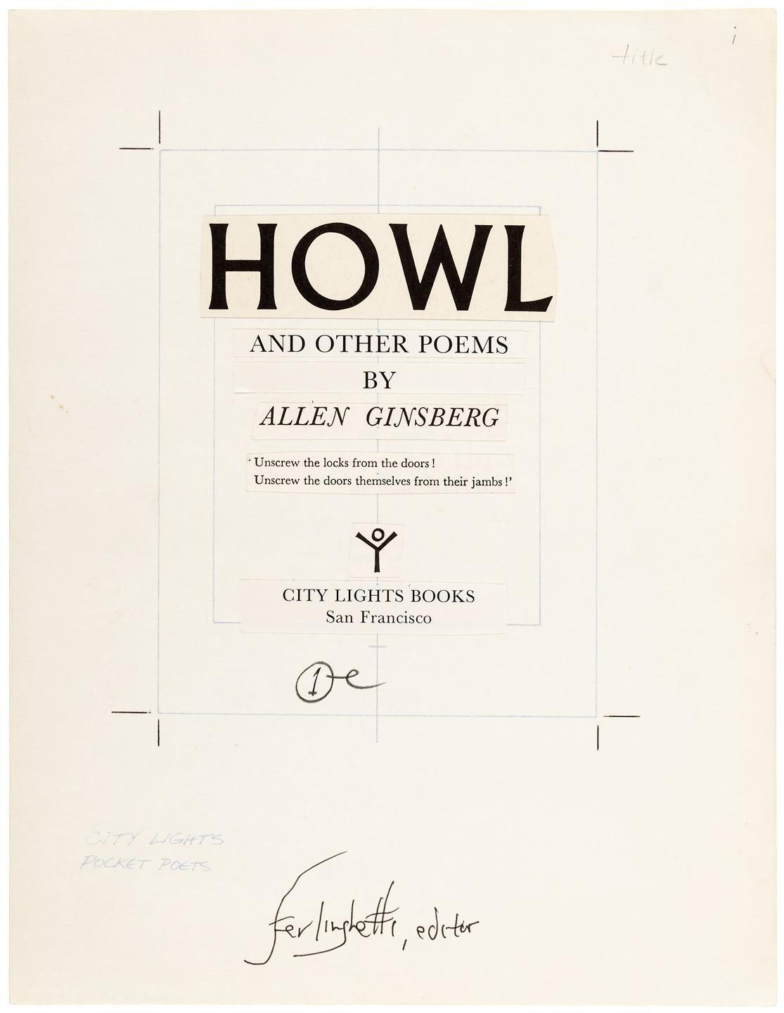 Howl and Other Poems - final page proofs signed by Lawrence Ferlinghetti -  Price Estimate: $500 - $800