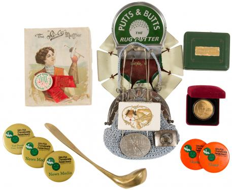 Group of vintage golf collectables