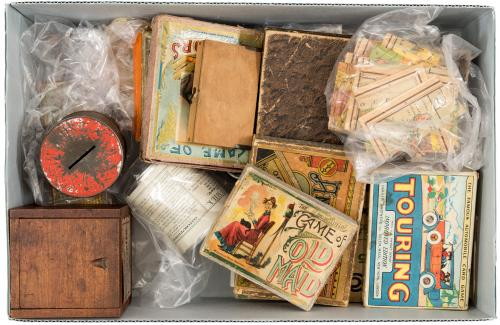 Lot of eight 19th century children's games and other items