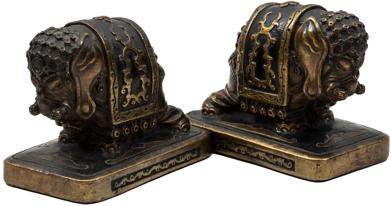 Antique Armor Bronze Thai Elephant Bookends - Price Estimate: $200