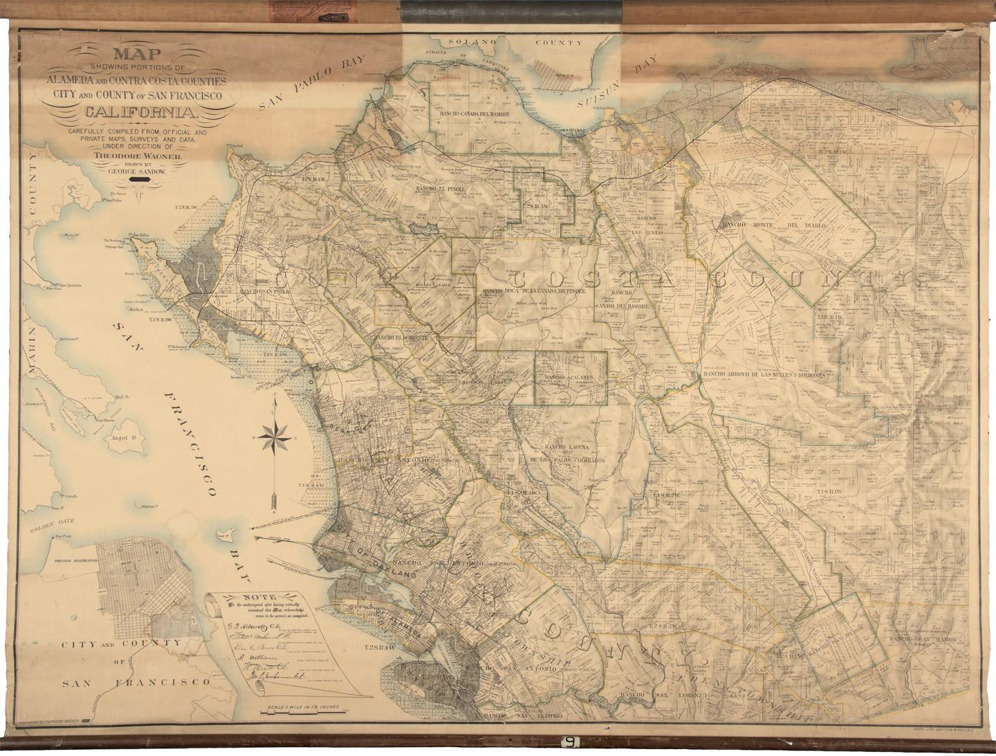 Image of: Map Showing Portions Of Alameda And Contra Costa Counties City And County Of San Francisco California Carefully Compiled From Official And Private Maps Surveys And Data Price Estimate 1500 2000
