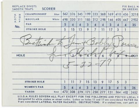 Golf score card, signed by Richard Nixon