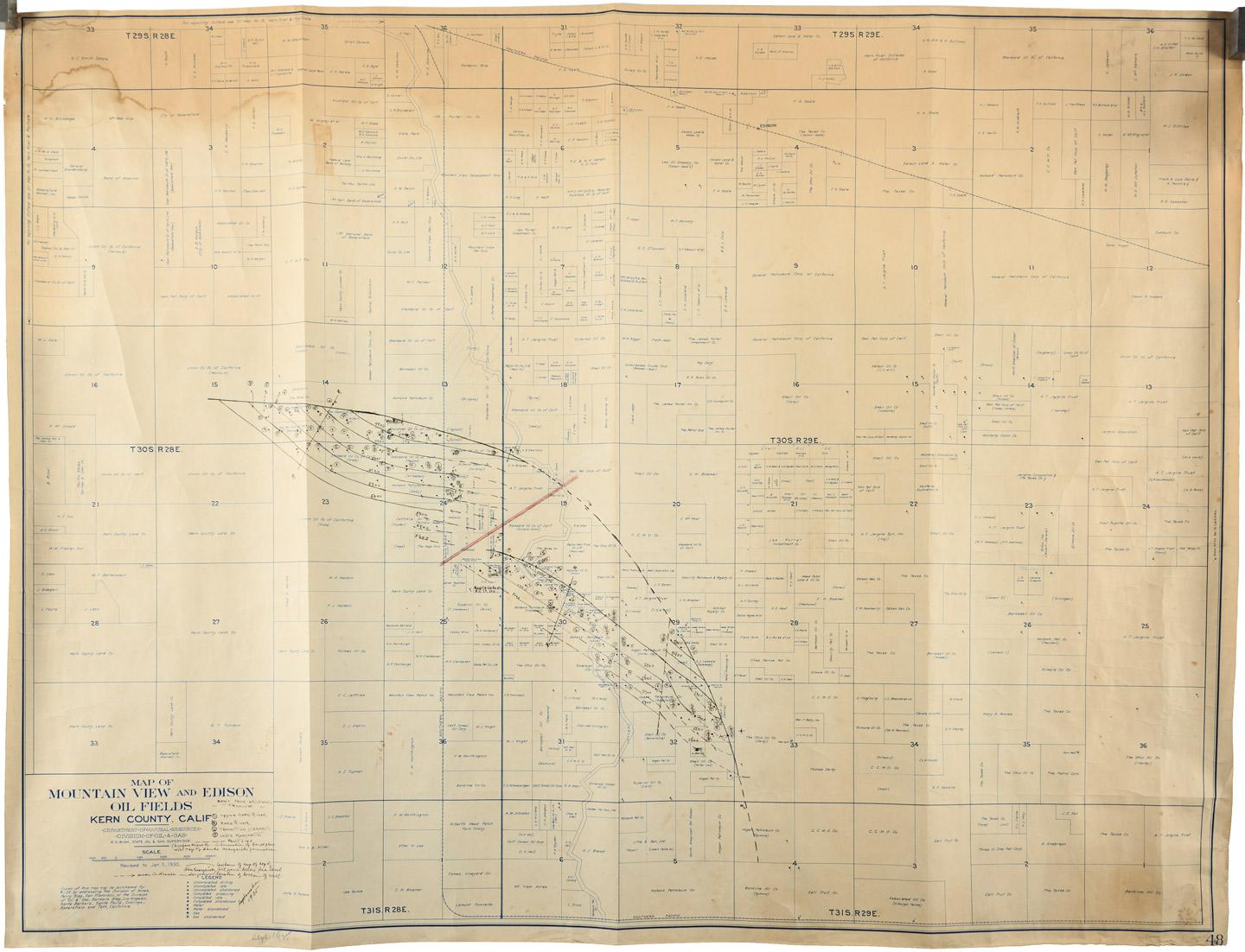 Map of Mountain View and Edison Oil Fields, Kern County, Calif ... Kern County Map Of Mountains on map of tehachapi mountains, map of san gabriel mountains, map of sierra madre mountains, map of los gatos mountains, map of southern california mountains,