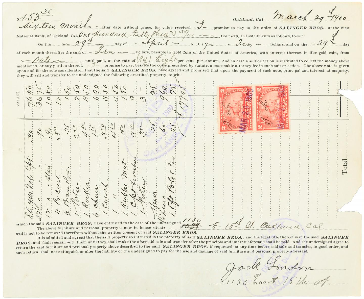 Purchase Agreement Between Jack London And The Salinger Bros For