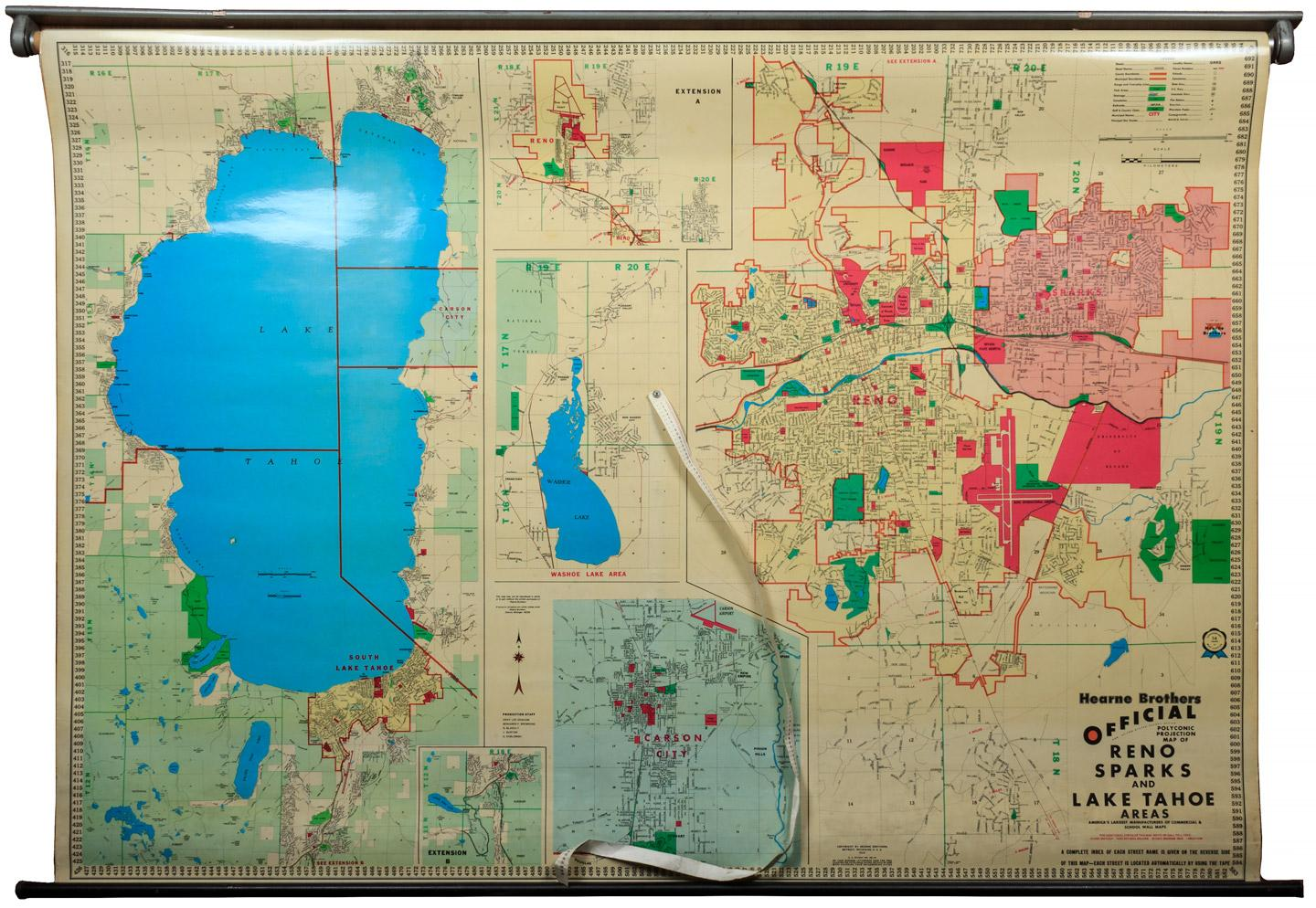 Hearne Brothers Official Polyconic Projection Map Of Reno Sparks - Map of reno and lake tahoe