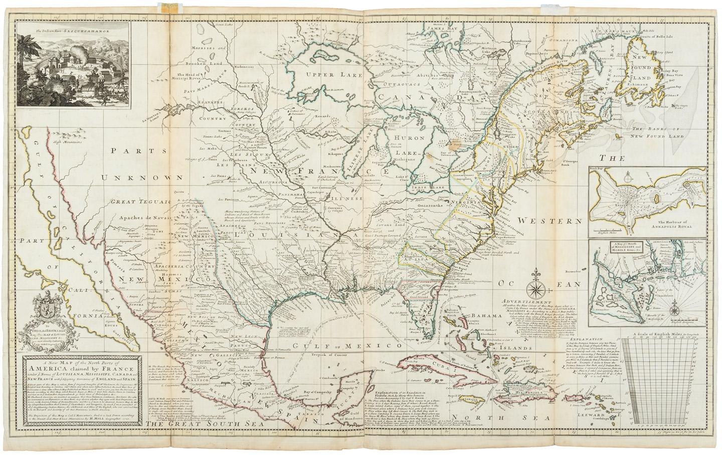 Map Of Southern Spain And France.A New Map Of The North Parts Of America Claimed By France Under Ye