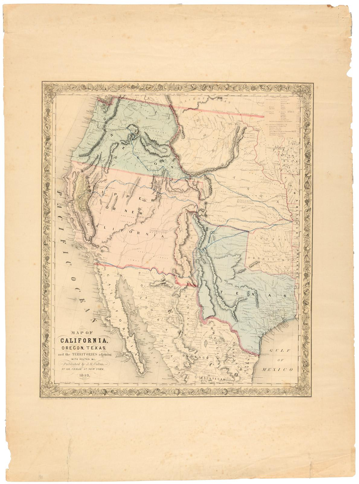 Map Of California To Oregon.Map Of California Oregon Texas And The Territories Adjoining With