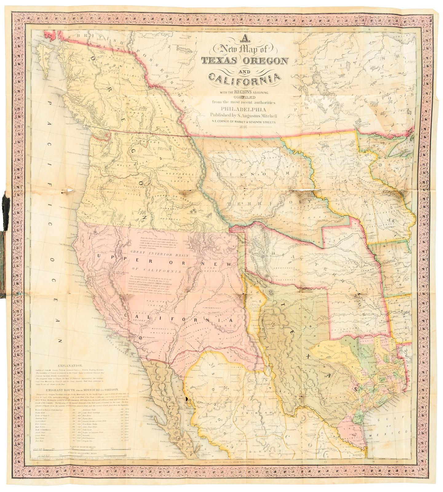 A New Map of Texas, Oregon and California, with the Regions