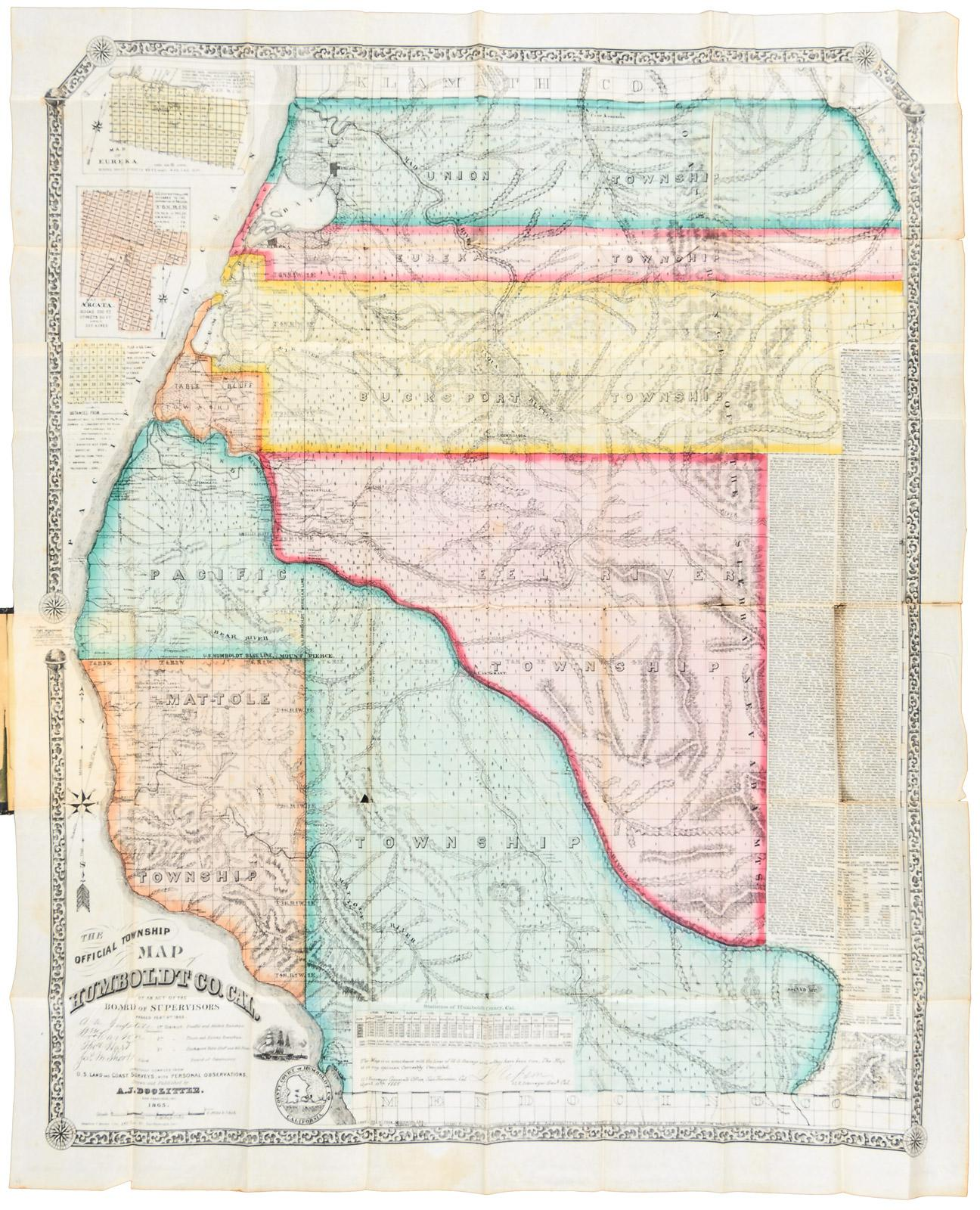The Official Township Map Of Humboldt County California By An Act