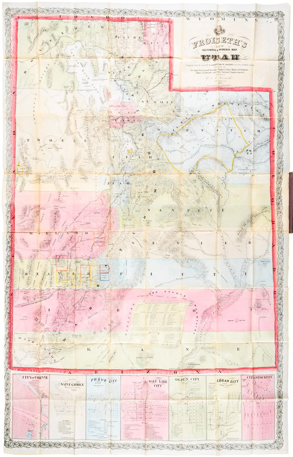 Froiseths New Sectional Mineral Map Of Utah Compiled From The - Map of utah