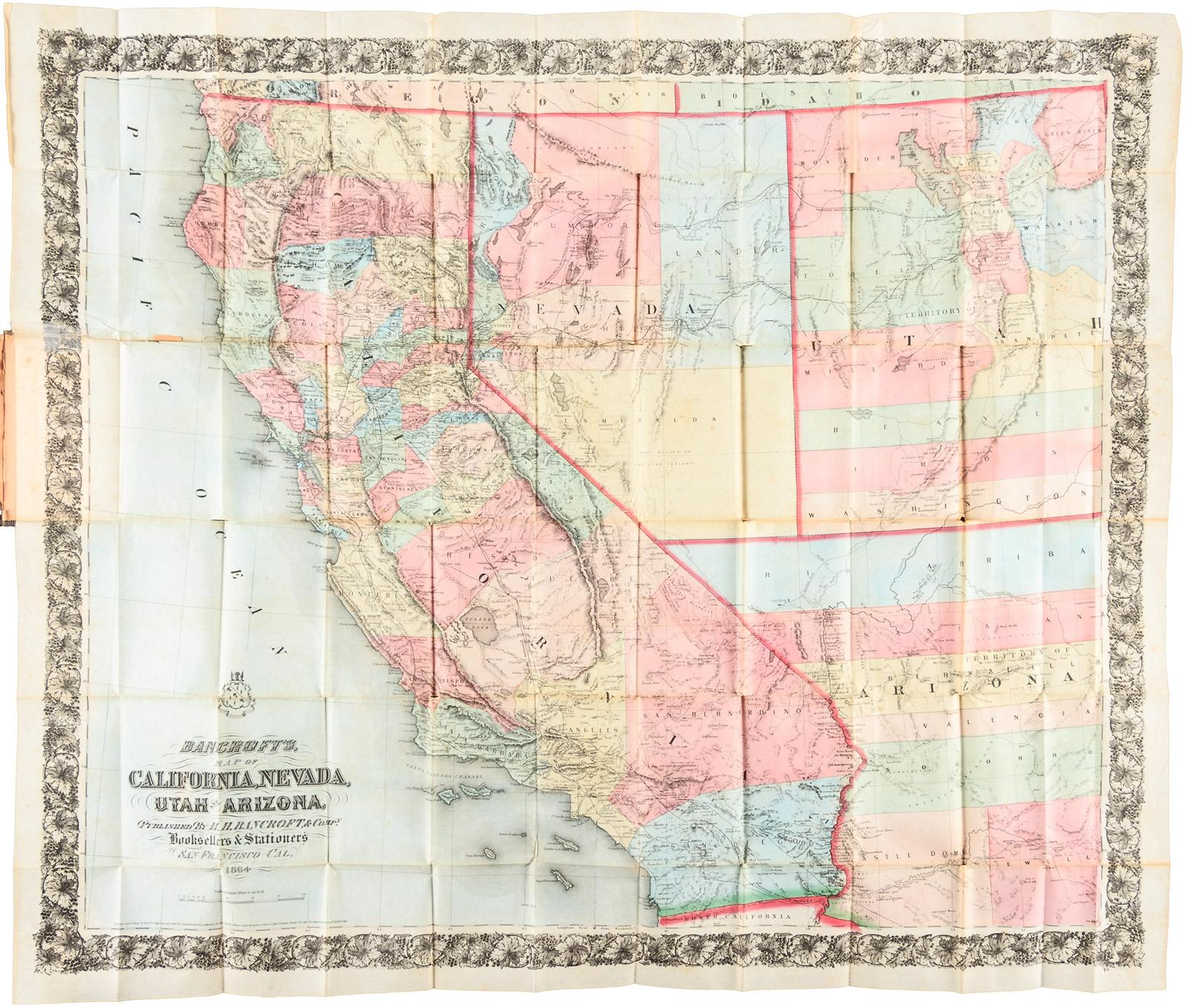 Bancrofts Map of California Nevada Utah and Arizona Price