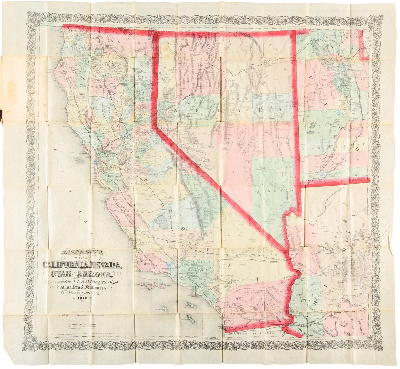 Map Of Nevada Utah And Arizona.Bancroft S Map Of California Nevada Utah And Arizona Published By