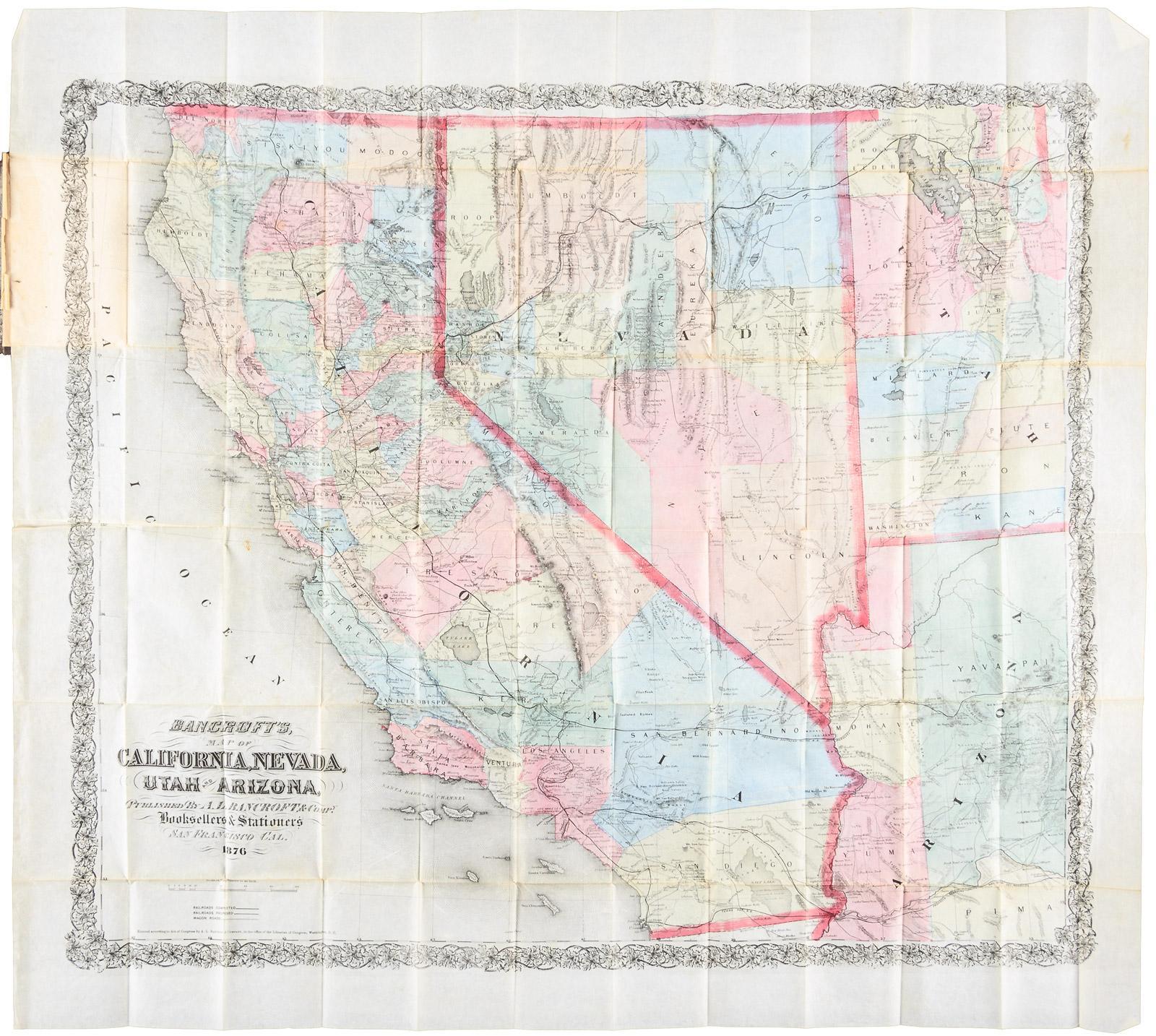Map Of California Arizona Border.Bancroft S Map Of California Nevada Utah And Arizona Published By