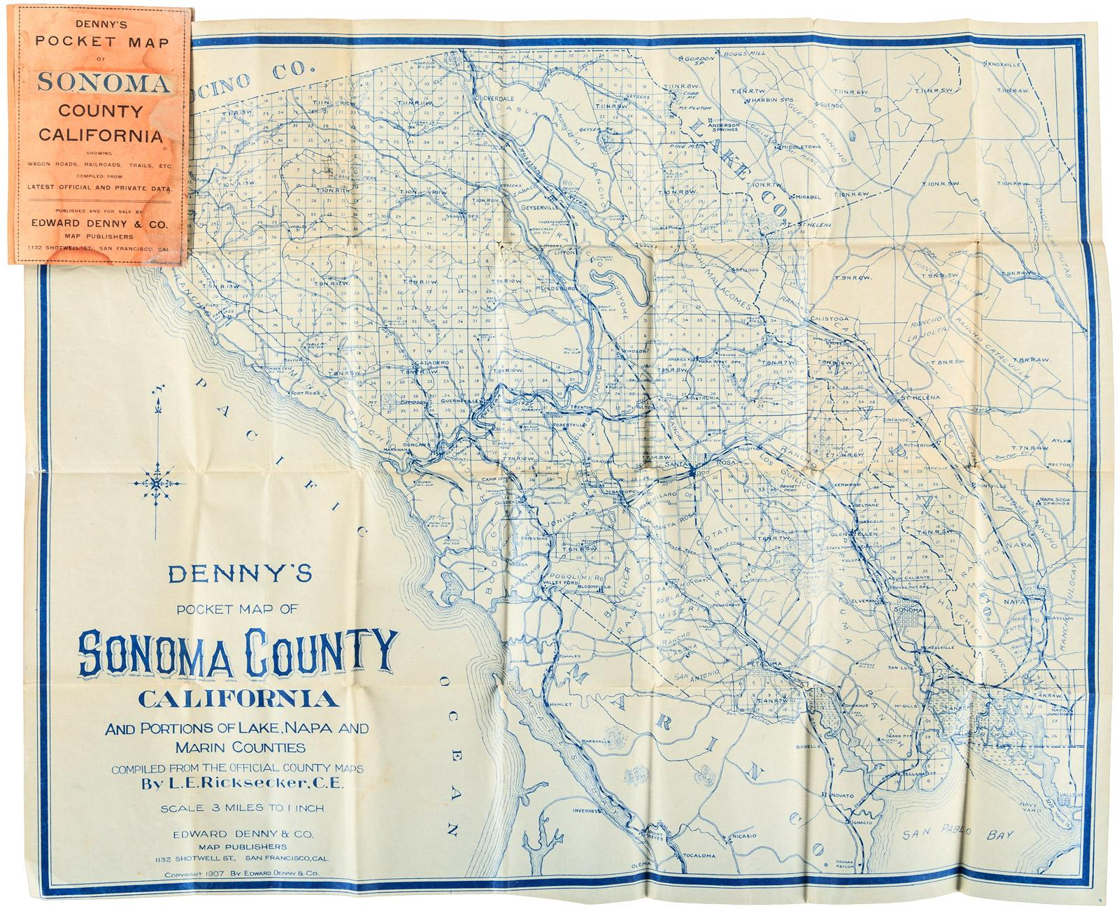 Denny S Pocket Map Of Sonoma County California And Portions Of Lake