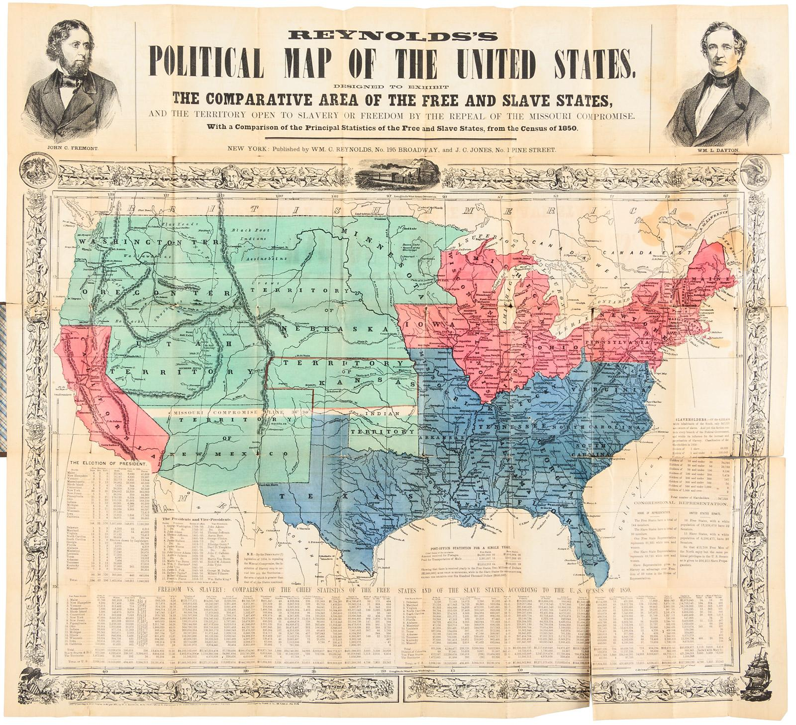 Reynold S Political Map Of The United States Designed To Exhibit