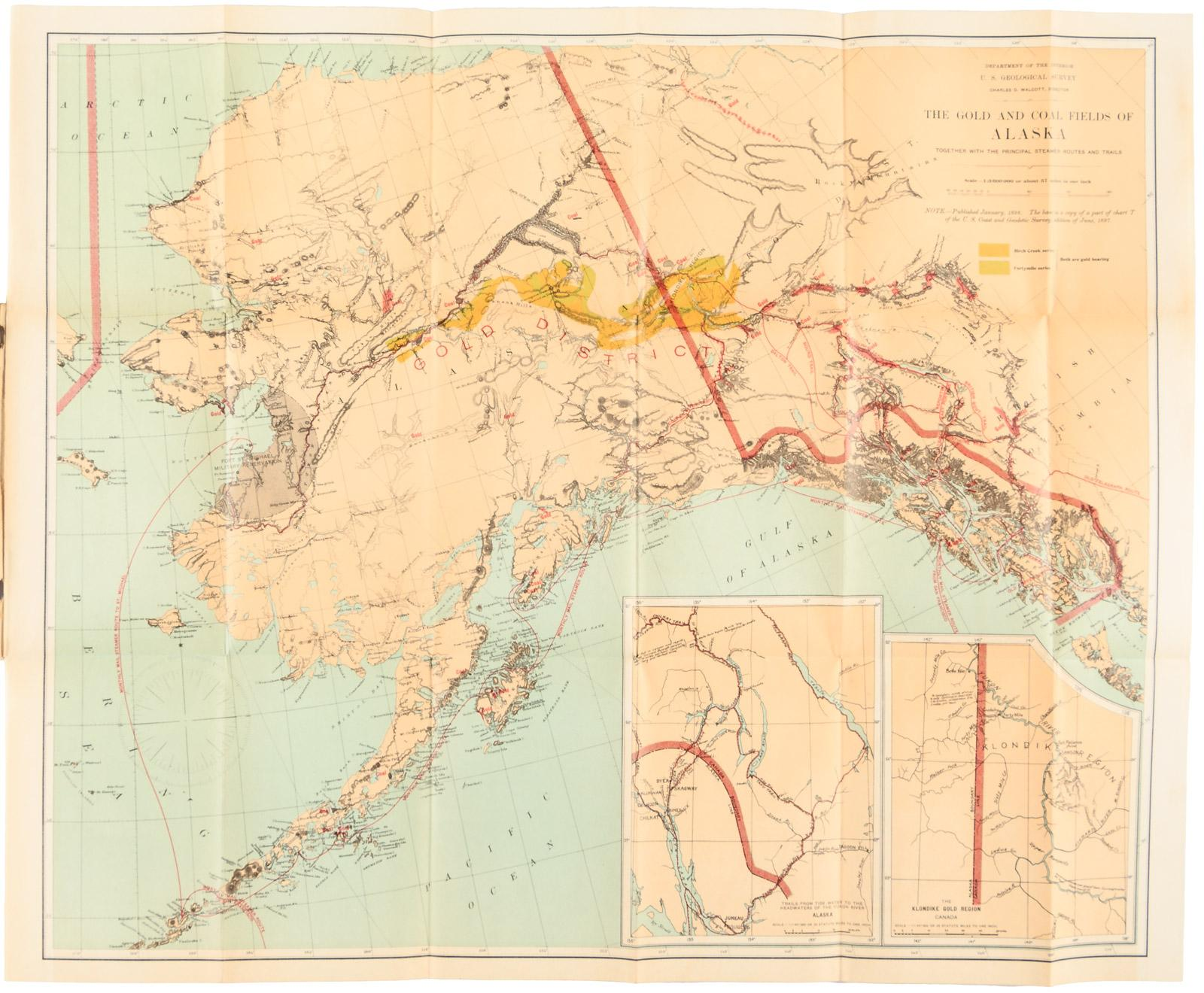 Map of alaska showing known gold bearing rocks with descriptive text map of alaska showing known gold bearing rocks with descriptive text containing sketches of the geography geology and gold deposits and routes to the gold gumiabroncs Images