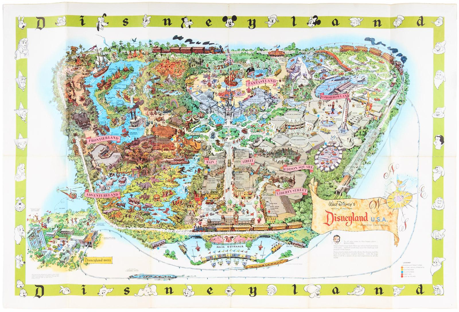 Disneyland Usa Map.Walt Disney S Magic Kingdom Disneyland U S A 1964 Full Color Map