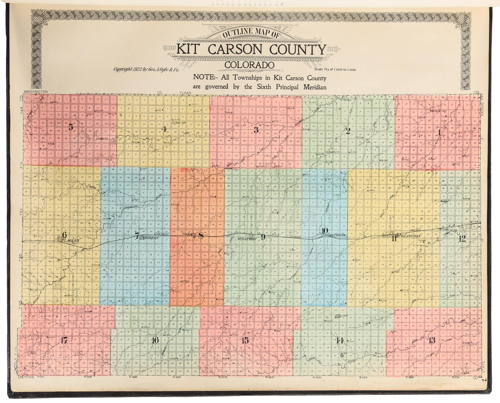 Standard Atlas Of Kit Carson County Colorado Including A Plat - Colorado state map with counties and cities