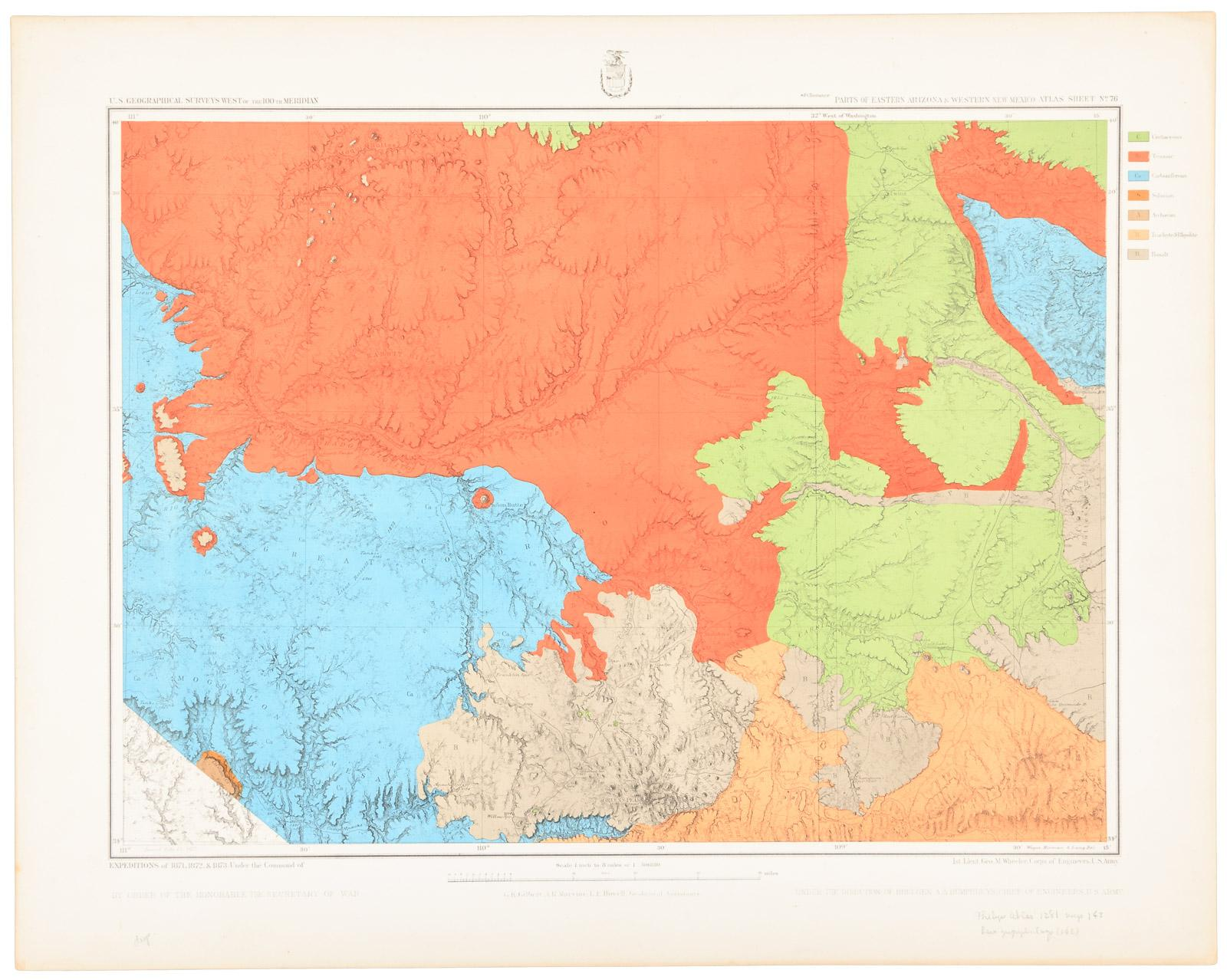 Geographical Map Of Arizona.Three Color Geological Maps Of Parts Of Arizona And New Mexico