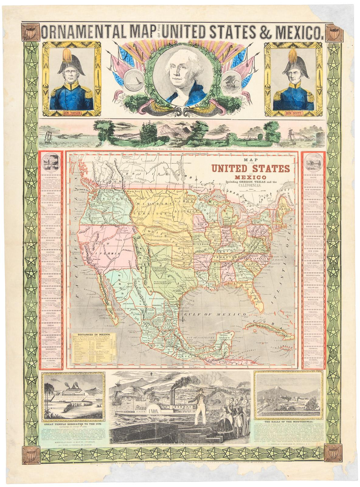 Ornamental Map Of The United States Mexico Map Of The United