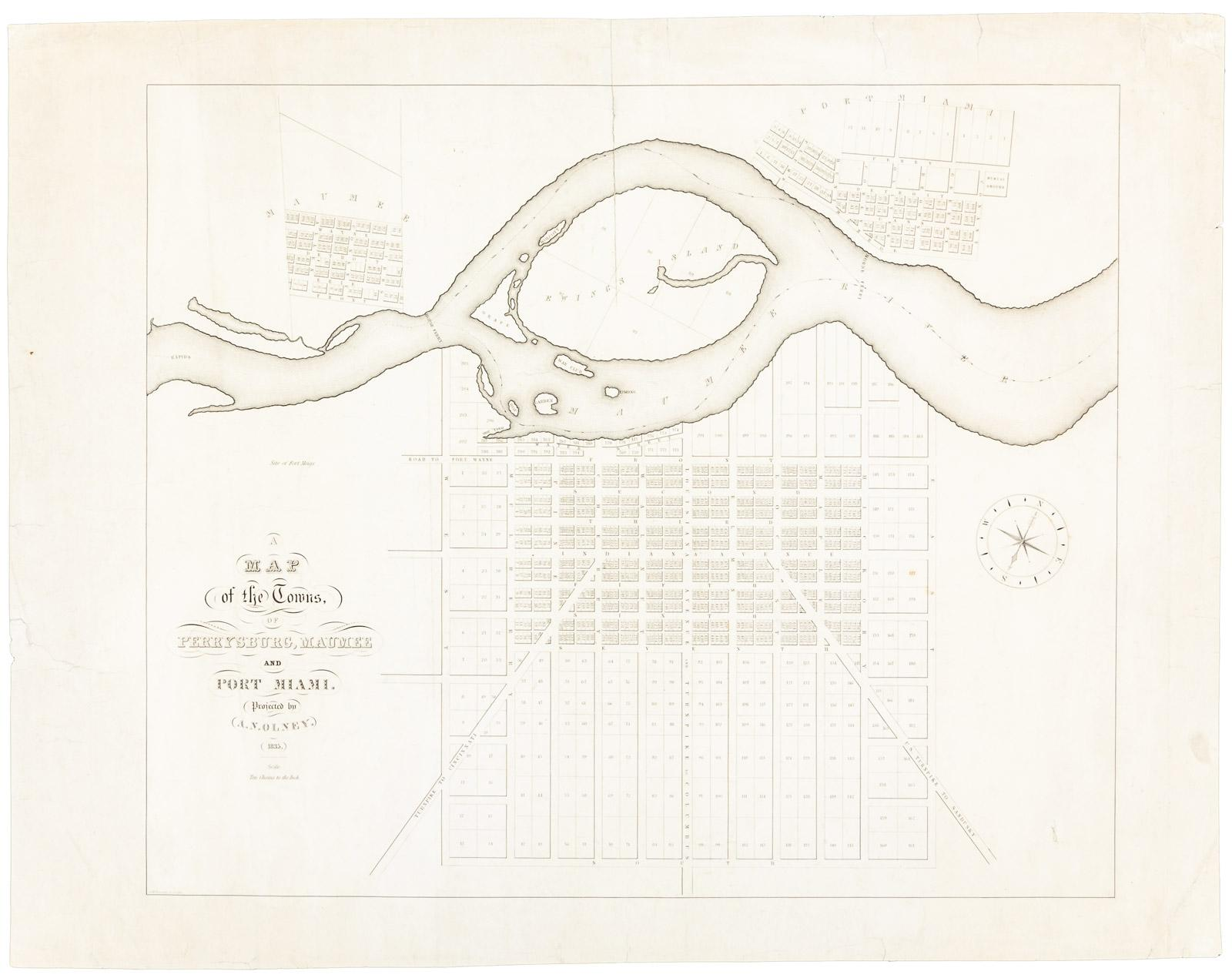 Worksheet. A Map of the Towns of Perrysburg Maumee and Port Miami  Price