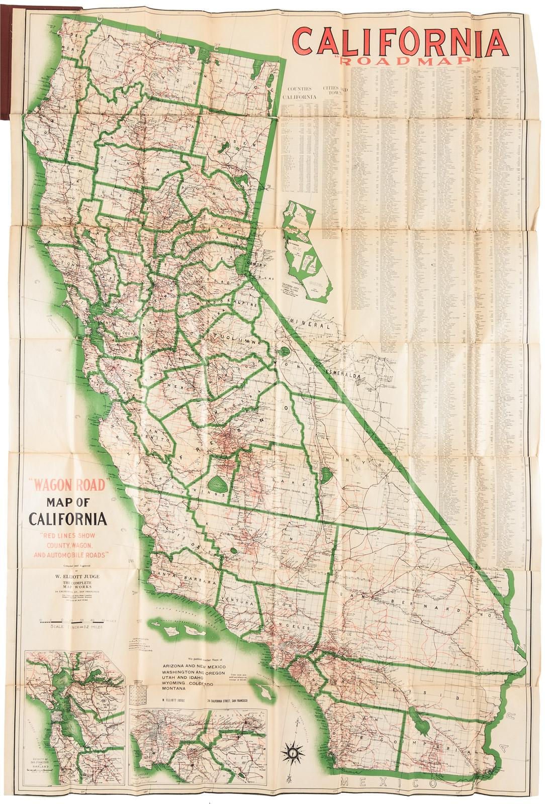 California Road Map Wagon Road Map Of California Red Lines Show
