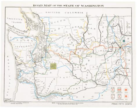 Road Map Of The State Of Washington Price Estimate 150 250