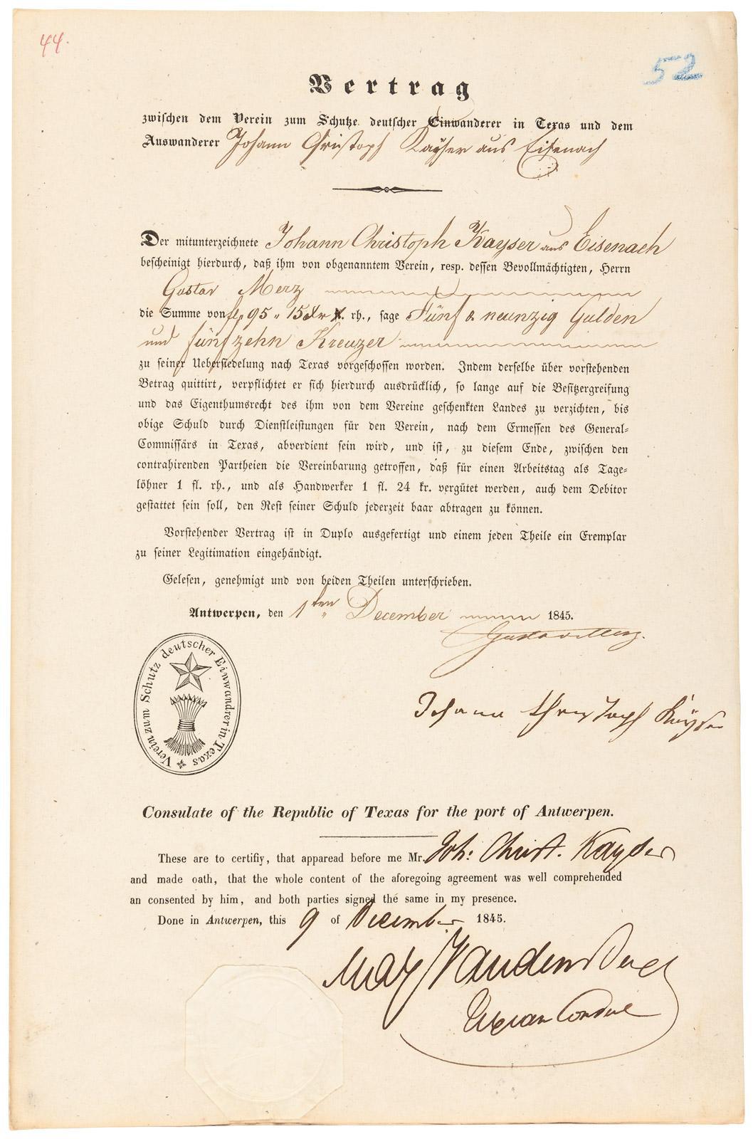 Vertrag Zwischen dem Verein Zum Schutze Deustcher Einwanderer in ...