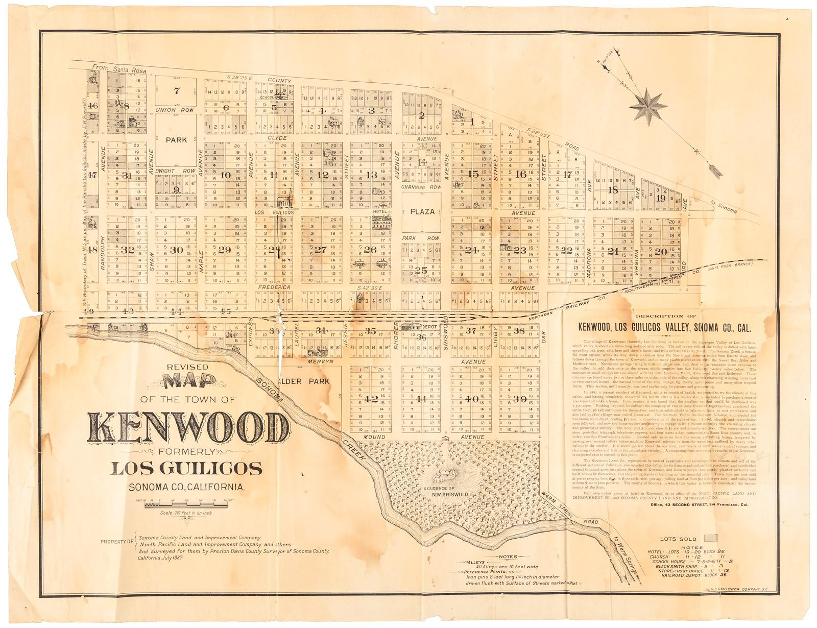 Revised Map Of The Town Of Kenwood Formerly Los Guilicos Sonoma Co