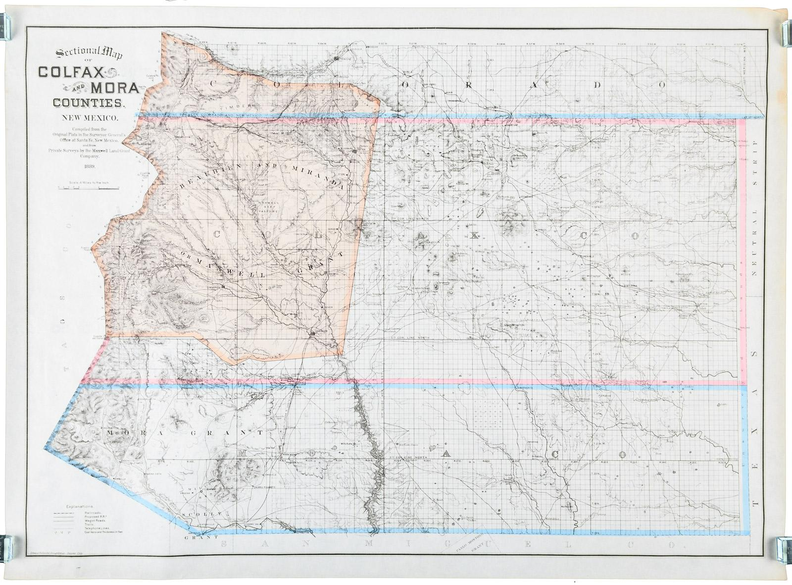 Sectional Map Of Colfax And Mora Counties New Mexico Compiled From