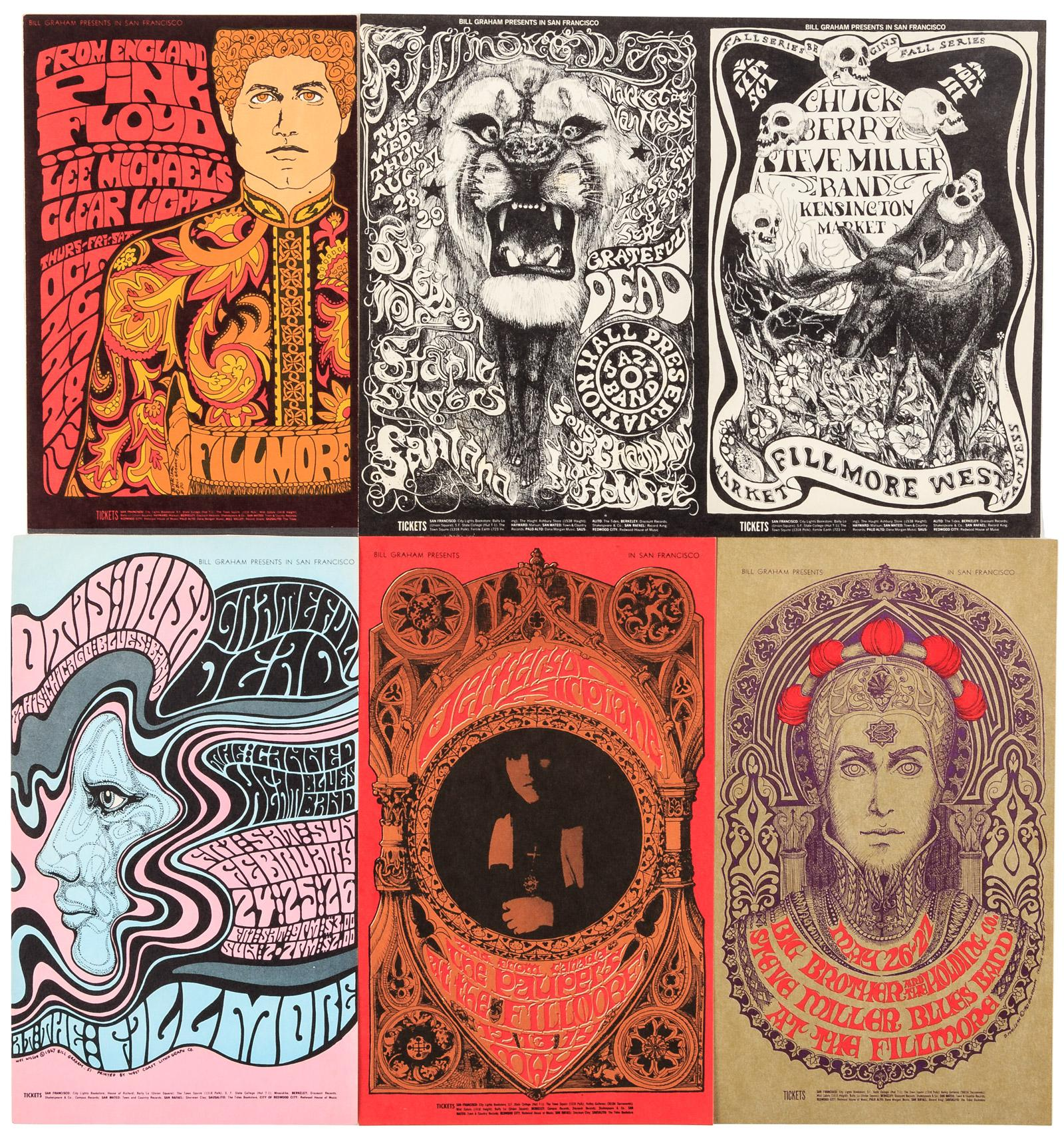 Collection of 15 postcards from Bill Graham concerts at the