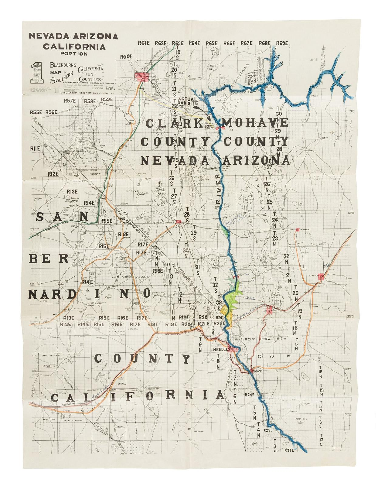 Map Of Nevada And Arizona.Nevada Arizona California Portion Blackburn S 1927 Map Of Southern