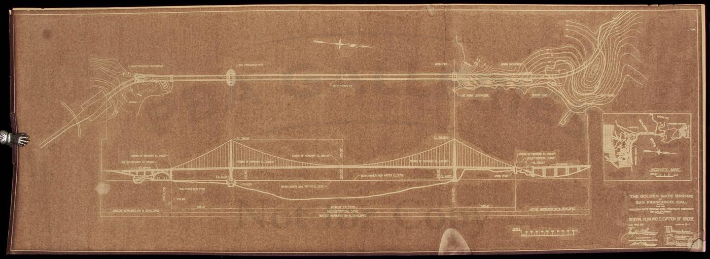 Original blueprint for the golden gate bridge from 1931 price sale 476 americana travel exploration cartography 476 03292012 1100 am pdt closed malvernweather Gallery