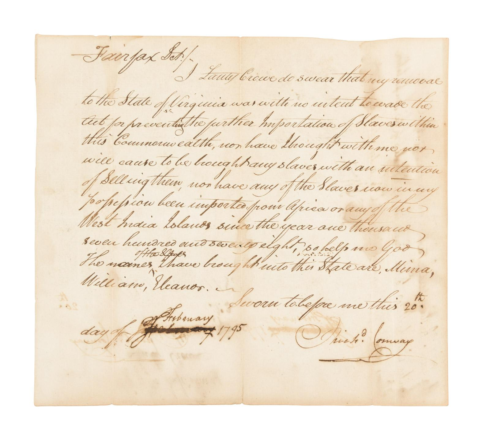 Rare Virginia Slave Non Importation Certificate Price Estimate
