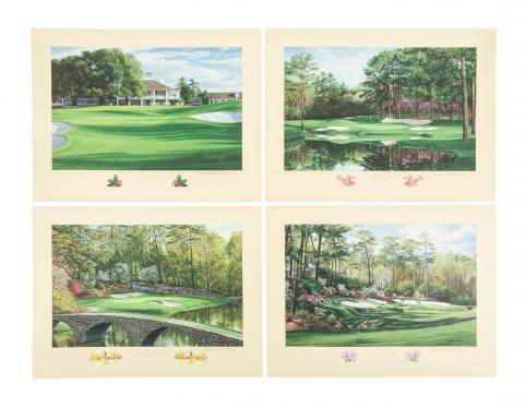 Large collection of 34 limited edition prints of famous golf holes