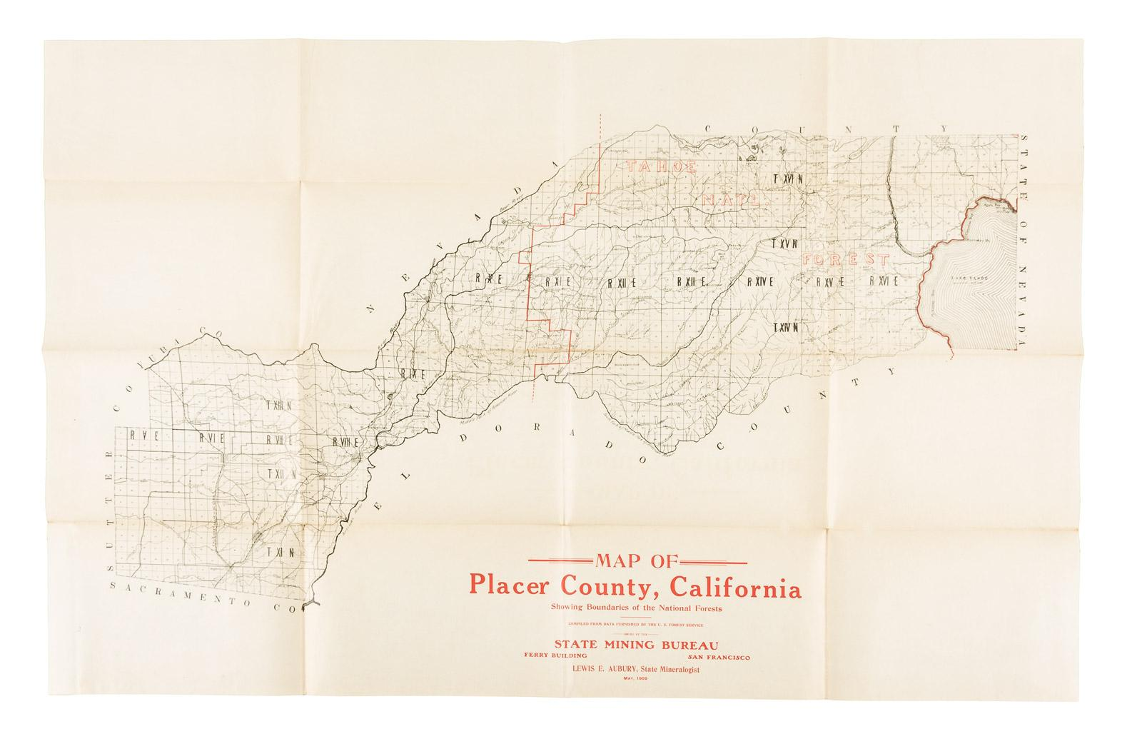 Map of Placer County, California showing boundaries of the ...