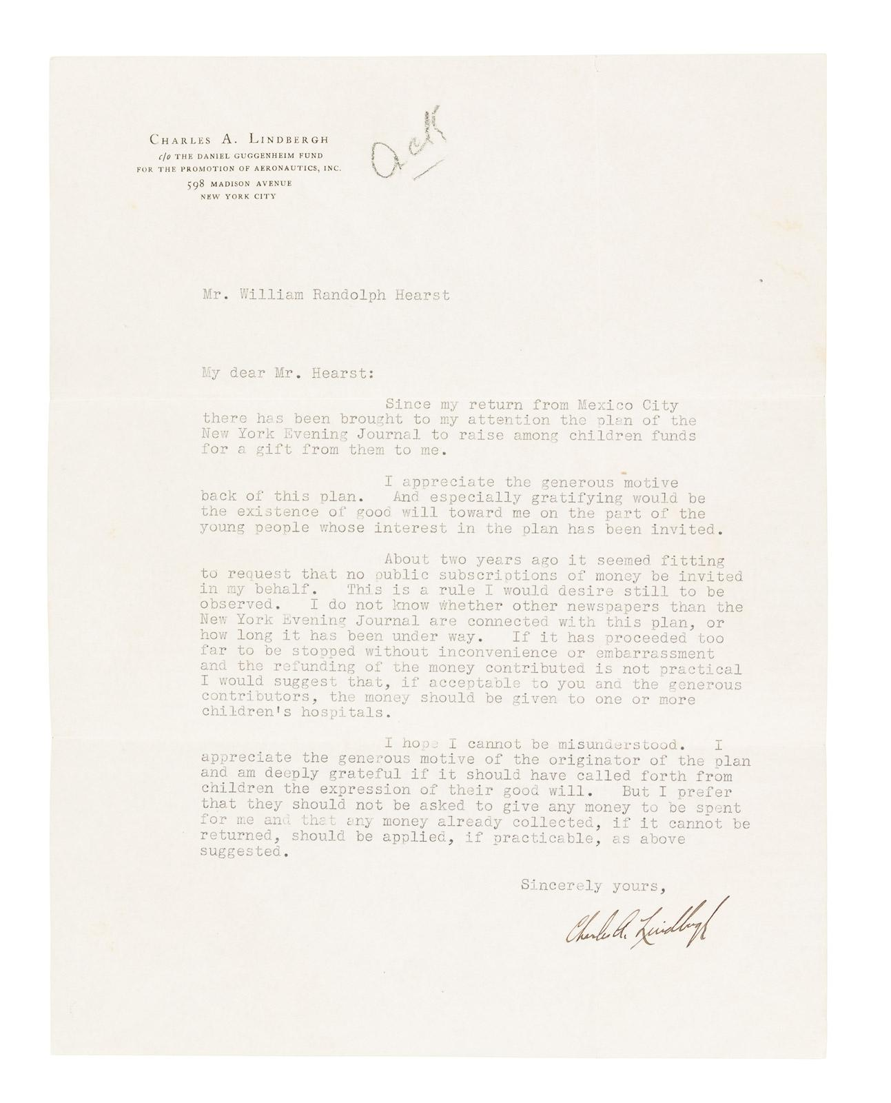 Letter from charles lindbergh to william randolph hearst requesting letter from charles lindbergh to william randolph hearst requesting that he curtail efforts to raise money from children for a gift to lindbergh price spiritdancerdesigns Choice Image