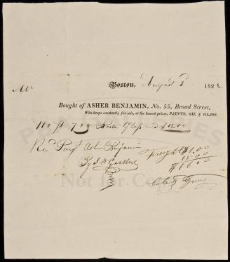 Document signed by first prominent American-born architect Asher Benjamin