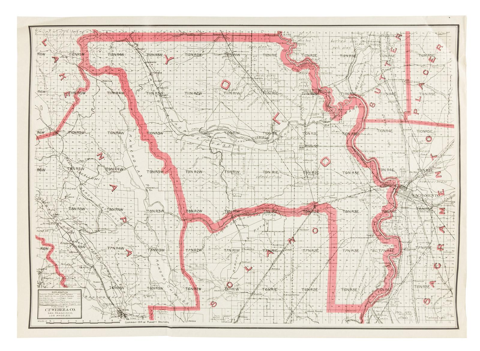 Weber S Map Of Yolo County California Price Estimate 300 500