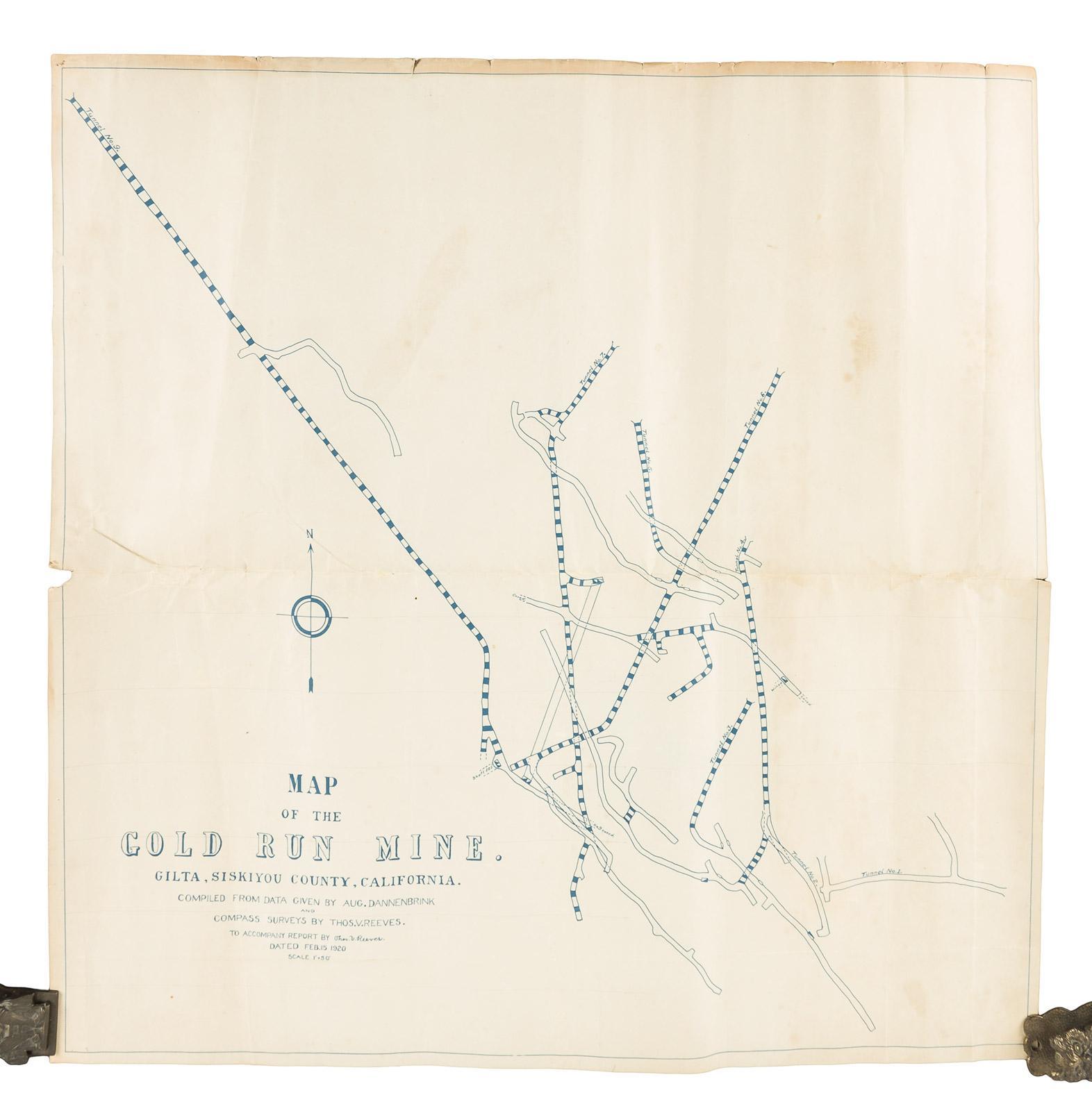 Map Of The Gold Run Mine Gilta Siskiyou County California