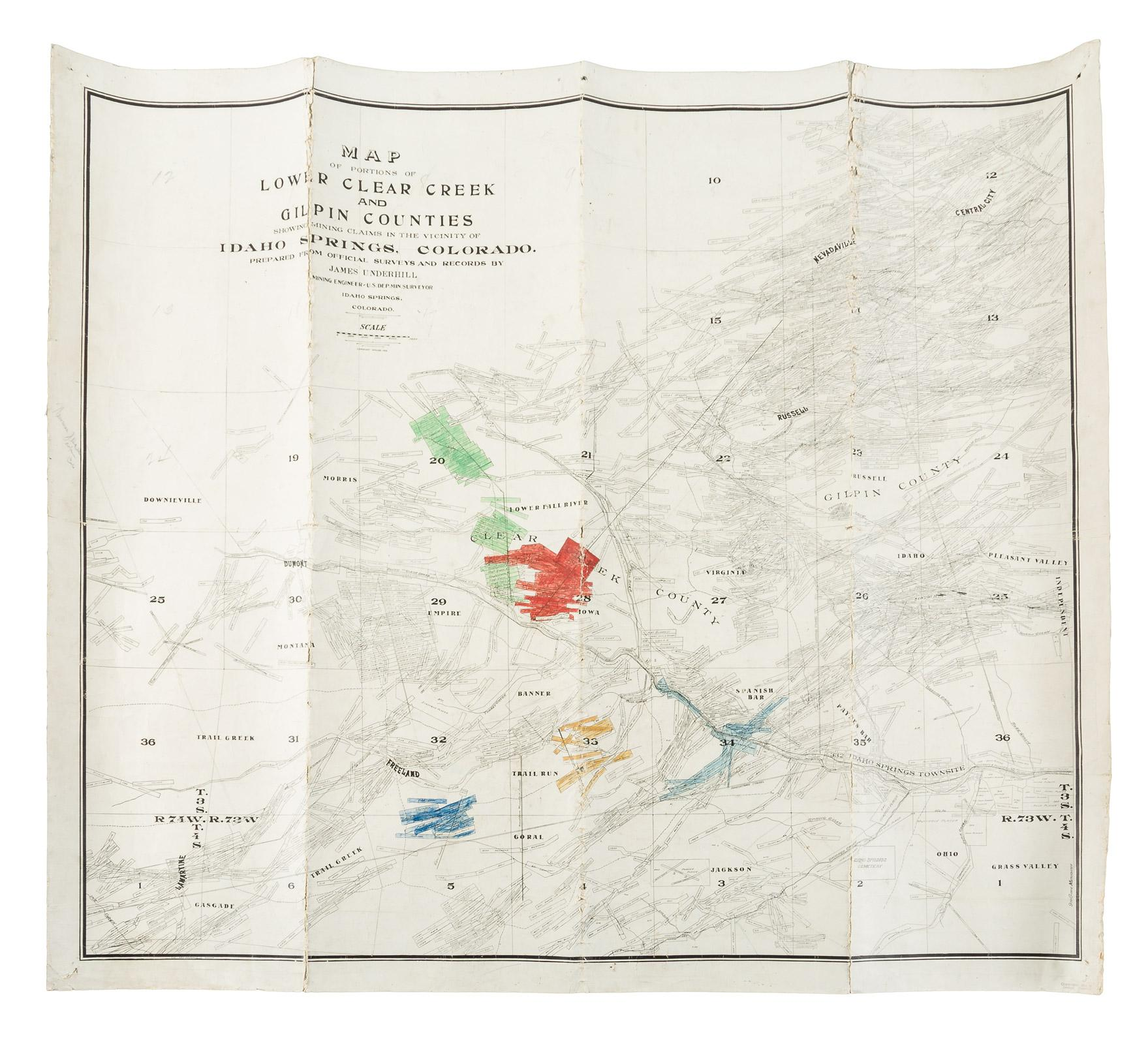 Map of portions of lower Clear Creek and Gilpin Counties