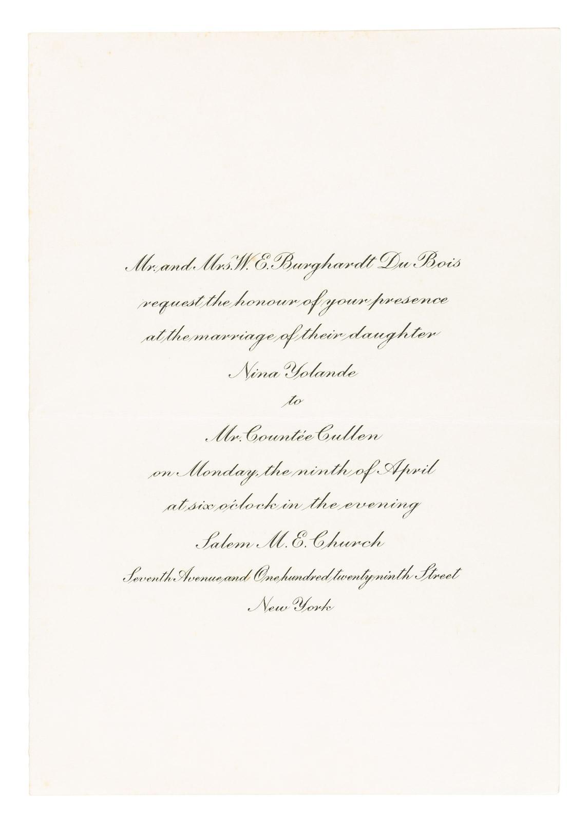 Original printed wedding invitation, Countee Cullen and W. E. B. ...