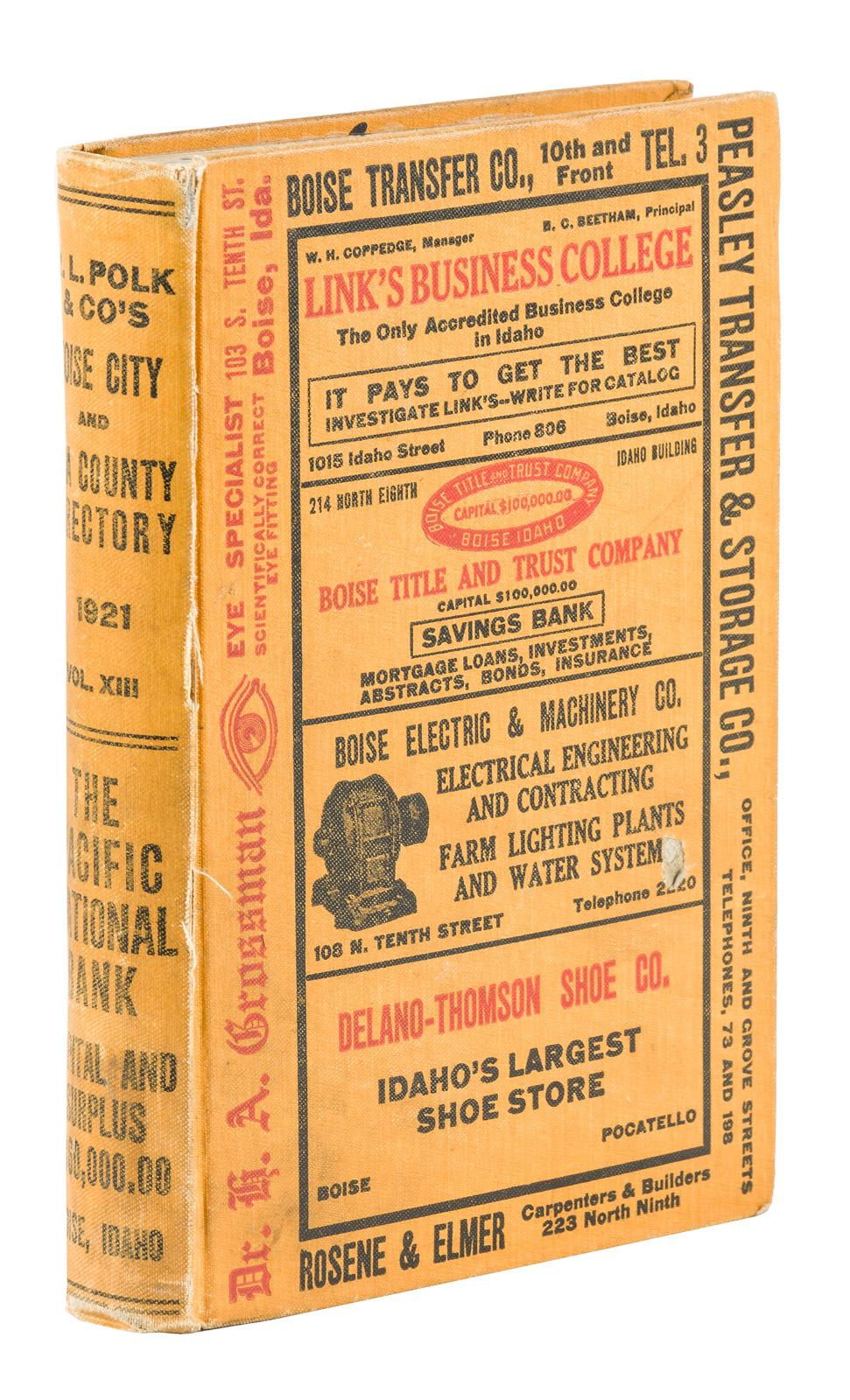 R. L. Polk And Cou0027s Boise City And Ada County Directory 1921   Price  Estimate: $10   $100